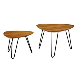 Delacora WE-BDF24HPNC  Guitar Pick Two Piece Wood and Metal Accent Table - Walnut