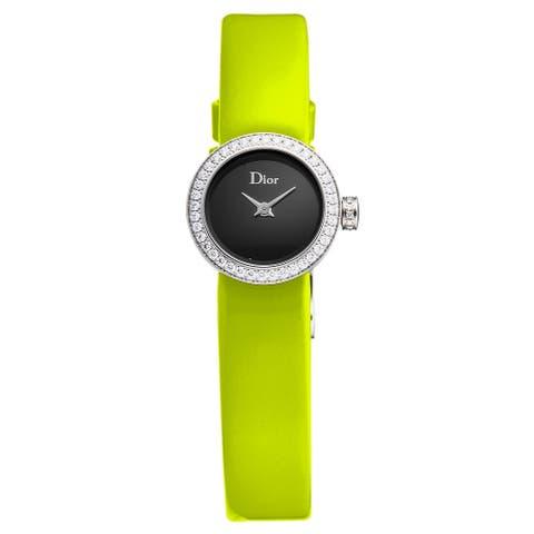 Christian dior women's cd040110a008 'la d de dior mini' black dial diamond bezel yellow leather strap swiss quartz watch