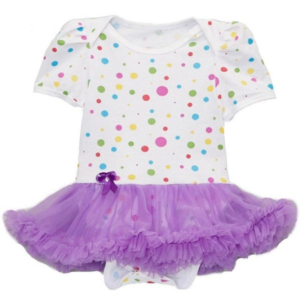 Wenchoice Baby Girls White Purple Polka Dots Tutu Short Sleeve Bodysuit