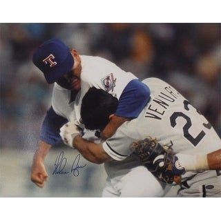 Nolan Ryan Autographed Texas Rangers 16x20 Photo (Fight) DA