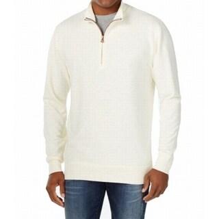 Weatherproof NEW White Ivory Mens Size Medium M Quarter Zip Sweater