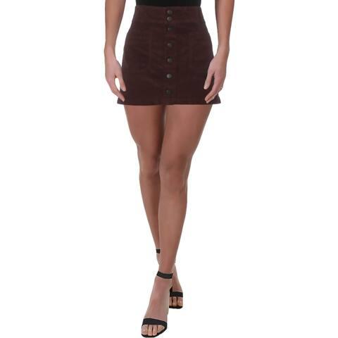 Free People Womens Mini Skirt Corduroy Pocket