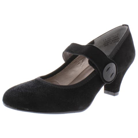 Array Womens Sapphire Mary Jane Heels Suede Closed Toe - Black Suede