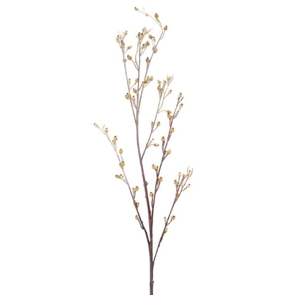 """Pack of 12 Artificial Snowy Christmas Branch with Champagne Berries 39"""" - WHITE"""