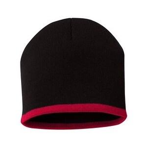 Sportsman Bottom Striped Knit Beanie - Black/ Red - One Size