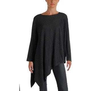 Anne Klein Womens Poncho Sweater Studded Asymmetrical Hem (2 options available)