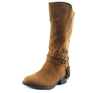Steve Madden Girls JBRAYLIN Knee High Zipper Western Boots, TAN, Size 2 YOUTH - 2 youth