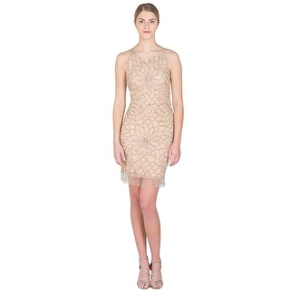 Badgley Mischka Beaded Fringe Sheath Cocktail Evening Dress - 10