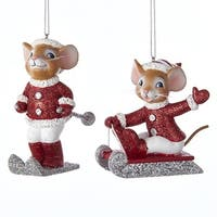 """Pack of 12 Red, White and Silver Sledding and Skiing Mouse Christmas Figure Ornaments 3.5"""""""