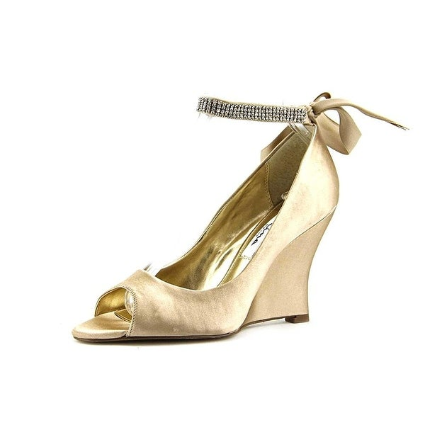 Nina Womens Emma Open Toe Ankle Wrap Wedge Pumps