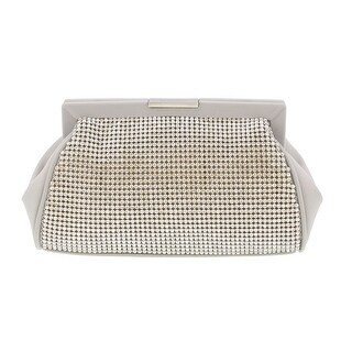 Scheilan Beige Fabric Double Sided Crystal Paneled Clutch/Shoulder Bag
