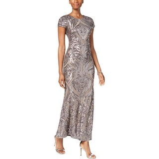 Betsy & Adam Womens Petites Evening Dress Sequined Full-Length - 8P