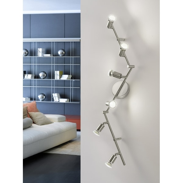 Eglo Buzz 2 6-Light Track Light in Brushed Nickel. Opens flyout.