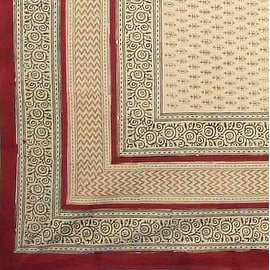 Handmade 100-percent Cotton Bagru Block Print Tablecloth Cotton 60x60 Rectangle Square Round Red