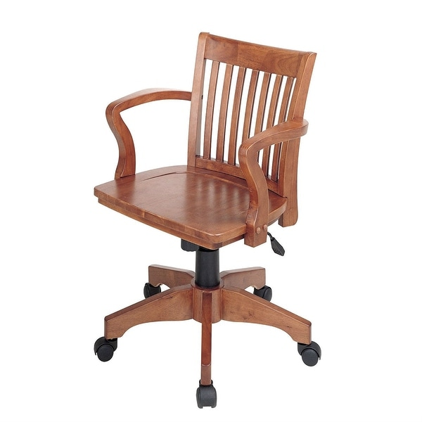 Classic Wooden Bankers Chair with Wood Seat and Arms
