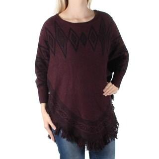 STYLE & COMPANY Womens Purple Fringed Tribal Dolman Sleeve Jewel Neck Sweater Size: S