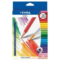 Lyra Osiris Water Soluble Colored Pencils, Assorted Colors, Pack of 36