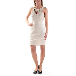 Womens Beige Sleeveless Above The Knee Sheath Party Dress Size: 3