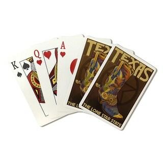 TX - Boot & Star - LP Artwork (Poker Playing Cards Deck)