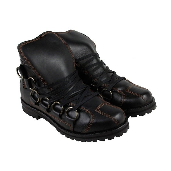 GBX Scully Mens Black Leather Casual Dress Lace Up Boots Shoes