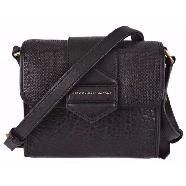 87e0a6793390 Marc By Marc Jacobs M0004767 Flipping Out Black Leather Crossbody Purse Bag  - 7.25 x 8