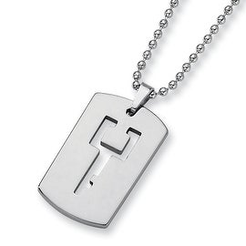 Chisel Tungsten Carbide Dogtag (1.5in) with Cut-out Key Design on 22 Inch Steel Bead Chain (2 mm) - 22 in
