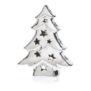 "Pack of 2 Chrome Ceramic Tree Decorative Christmas Tea Light Candle Holders 8"""