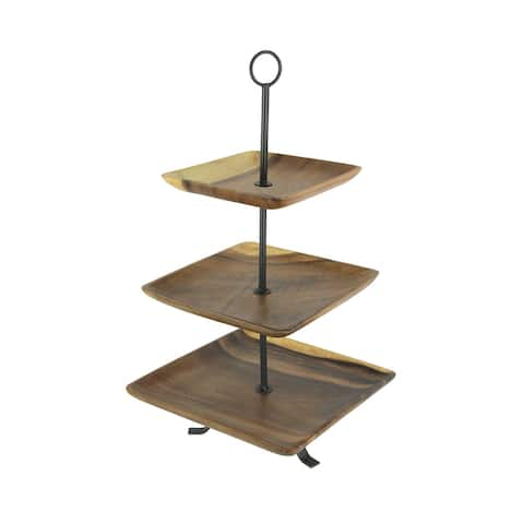 Polished Wood 3 Tier Square Shaped Serving Tray - 23 X 12.25 X 12.25 inches