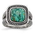 Chisel Stainless Steel Antiqued Imitation Turquoise Ring (15 mm) - Thumbnail 0