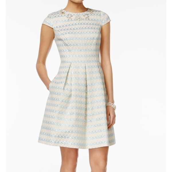 Vince Camuto NEW Blue White Women Size 14 Sheath Striped Pleated Dress