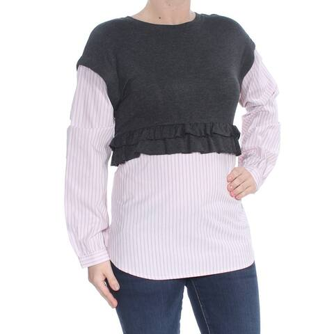 KENSIE Womens Gray Pinstripe Layered Look Sweater Size: S