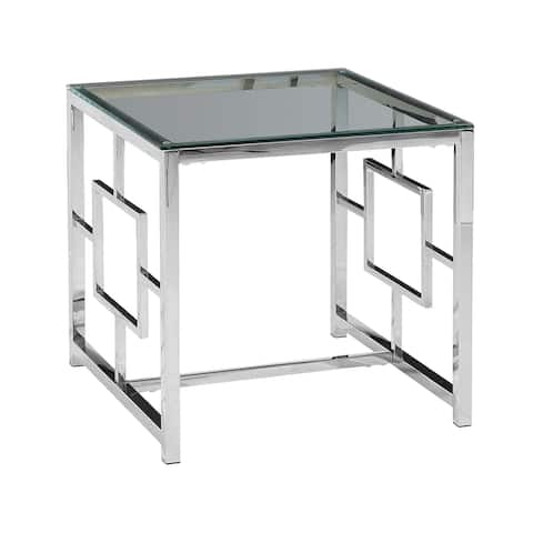 Silver Metal/Glass Accent TablE