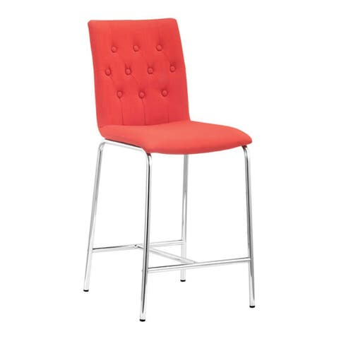 """Offex Home Kitchen Uppsala Counter Chair, Tangerine Pack of 2 - 16.5""""W x 19.7""""D x 39""""H"""