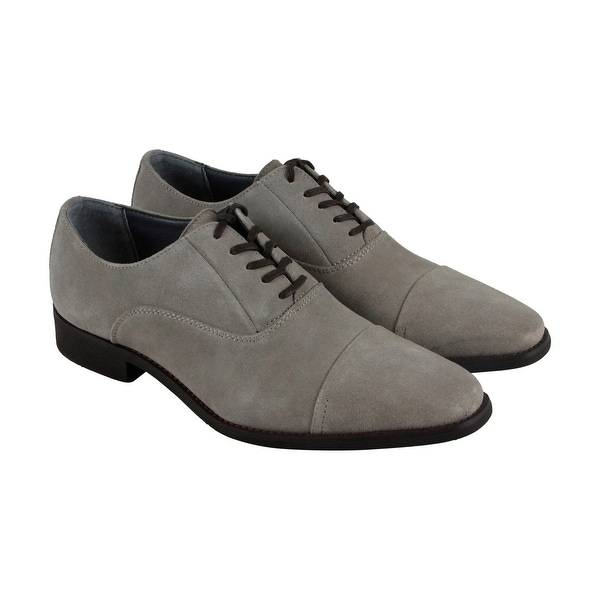Calvin Klein Radley Oily Suede Mens Gray Suede Casual Dress Oxfords Shoes