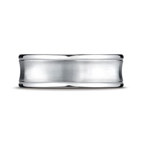 Platinum 7.5mm Comfort-fit Satin-finished Concave Round Edge Carved Design Band
