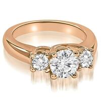 3.15 cttw. 14K Rose Gold Lucida Three-Stone Round Cut Diamond Engagement Ring