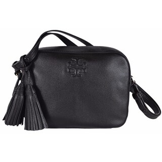 Tory Burch Black Textured Leather Thea Crossbody Shoulder Bag