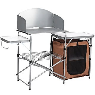 Costway Foldable Camping Table Outdoor BBQ Portable Grilling Stand w/Windscreen Bag - as pic