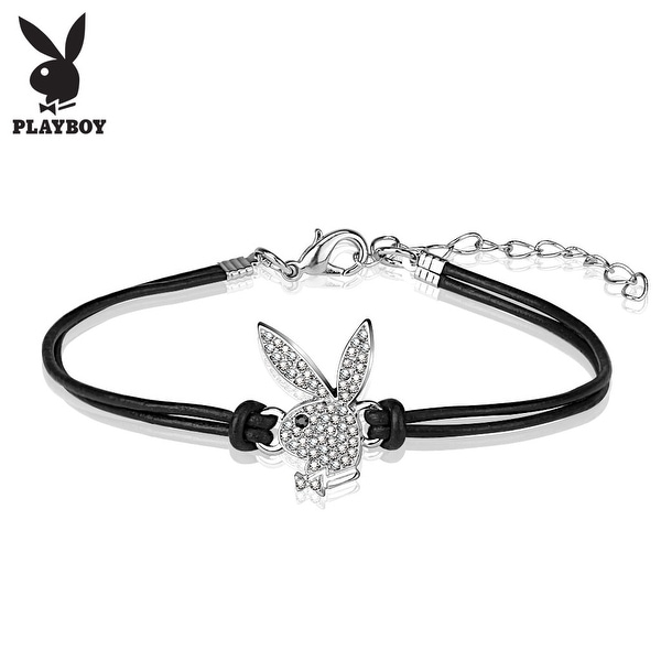 "Playboy CZ Pave Bunny Charm Leatherette and Brass Bracelet - 7"" (Sold Ind.)"