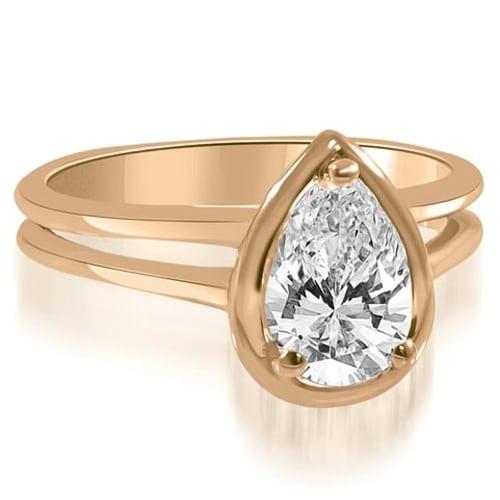 0.50 cttw. 14K Rose Gold Split Shank Pear Cut Halo Diamond Engagement Ring