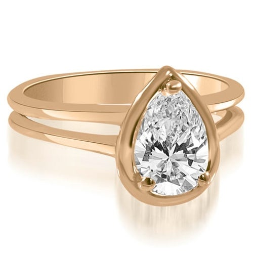 1.00 cttw. 14K Rose Gold Split Shank Pear Cut Halo Diamond Engagement Ring