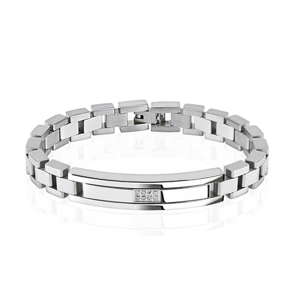 Square Micro pave CZs Center Plate Stainless Steel Bracelet (10 mm) - 8.25 in
