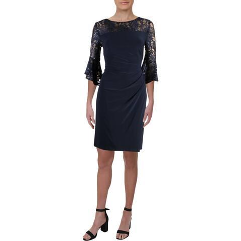 Lauren Ralph Lauren Womens Petites Cocktail Dress Bell Sleeve Lace