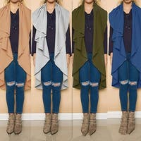 Womens Irregular Cardigan Coat +Gift Necklace