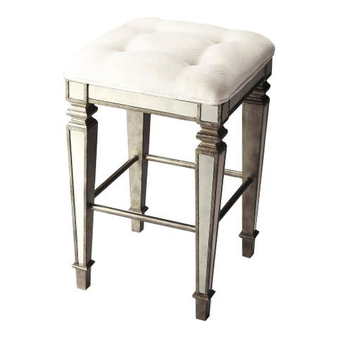 Transitional Square Mirrored Bar Stool - Silver