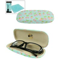 JAVOedge Strawberry and Cherry Whimsical Fabric Covered Eyeglasses Case with Bonus Microfiber Cloth - blue (eyeglass case only)