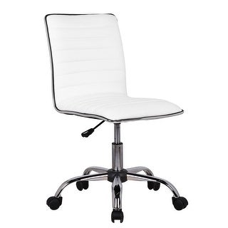 Belleze Ribbed Office Chair Armless Seat Desk Seat Swivel Task, White