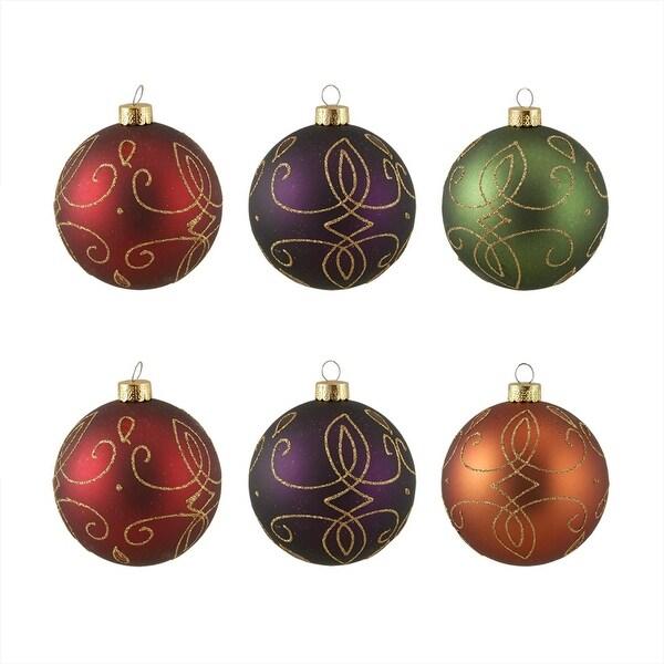 "6ct Glittered Earth Tone Shatterproof Christmas Ball Ornaments 3.25"" (80mm) - multi"