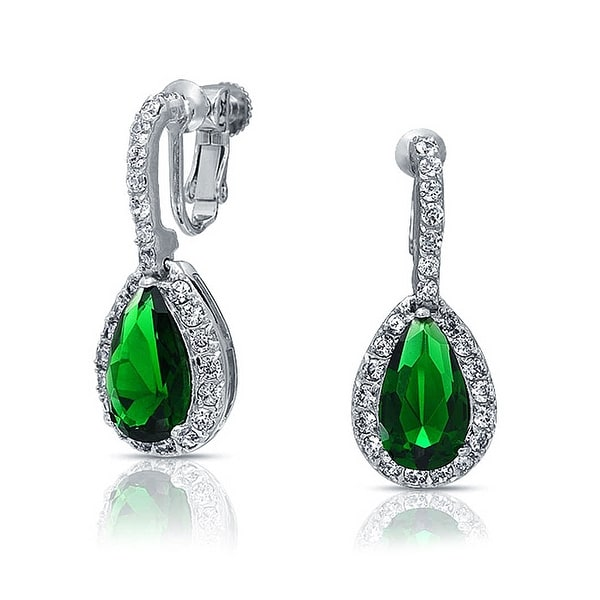 Bling Jewelry Green Cz Pear Clip On Earrings Rhodium Plated