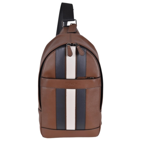 d69f87d1ba4b Coach Men  x27 s F23215 Charles Leather Varsity Stripe Sling Day Pack Bag  -. Click to Zoom